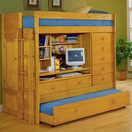Tradewins Mountain River Computer Loft Bed With Storage Manhattan