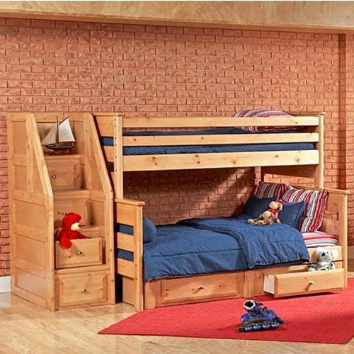 Trendwood Laguna Twin Full Bunk Bed With Underdresser And Storage