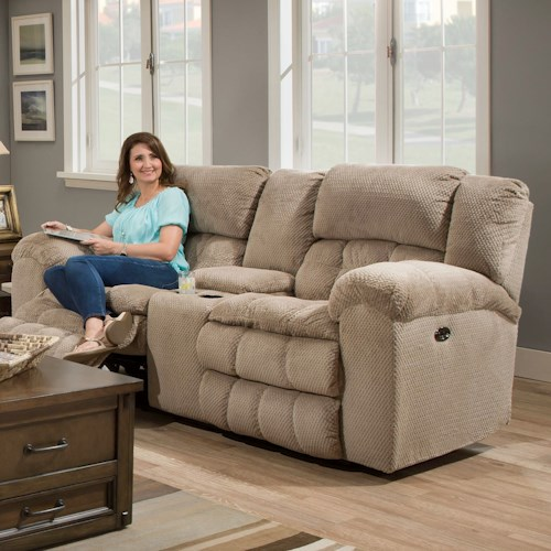United Furniture Industries 50580BR Casual Power Double Motion Loveseat