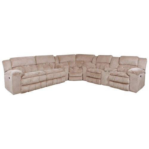 United Furniture Industries 50580BR Casual 5 Seat Power Reclining Sectional
