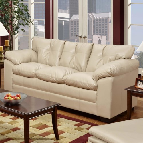Simmons Upholstery 6569 Stationary Sofa with Pillow Arms