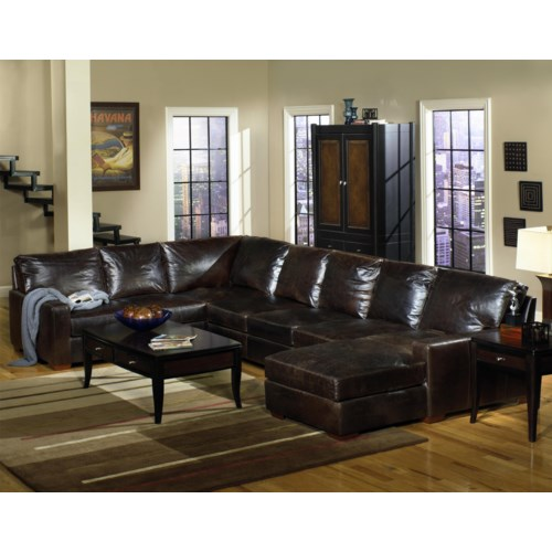 Usa premium leather 9935 track arm sofa chaise sectional for 3 piece leather sectional sofa with chaise