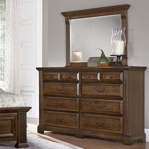 Vaughan Bassett Woodlands Triple Dresser Landscape Mirror Godby Home Furnishings Dresser