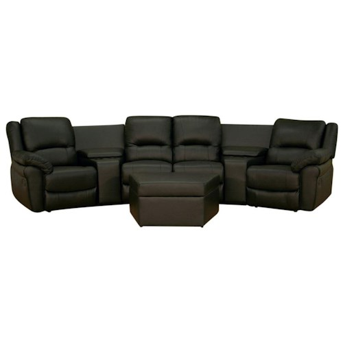 Wholesale Interiors Wholesale Interiors Theater Seating Contemporary Black Leather Home Theater Seating with Storage Ottoman