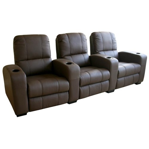 Wholesale Interiors Wholesale Interiors Theater Seating Contemporary Brown Leather 3-Seat Theater Sectional