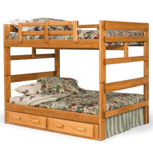 Woodcrest Heartland BR Rustic Full/Full Bunk Bed with Center Support