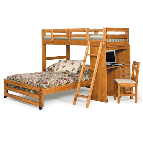 Woodcrest Heartland Br L Shaped Twin Full Loft Bed Set With Attached