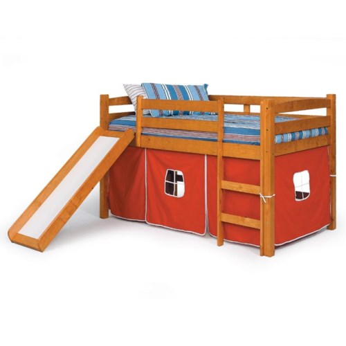 Woodcrest Pine Ridge Twin Tent Loft Bed with Slide and Play Tent