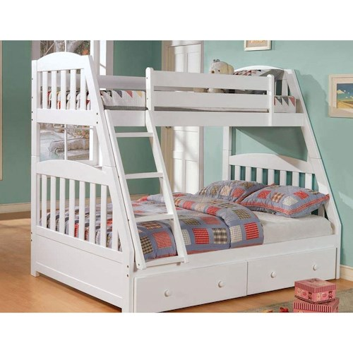 Woodcrest Pine Ridge Twin Over Full Pine Mission Bunk Bed