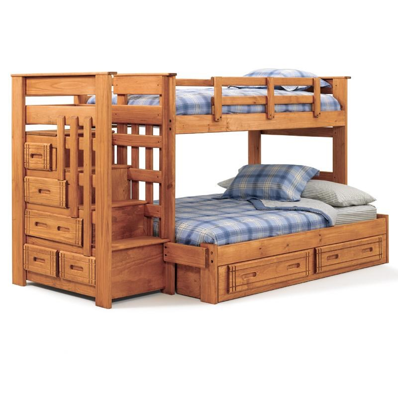 Woodcrest Woody Creek Twin Over Full Stairway Bunk Bed