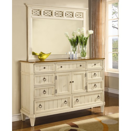 Flexsteel Wynwood Collection Garden Walk Nine-Drawer Dresser with Landscape Mirror