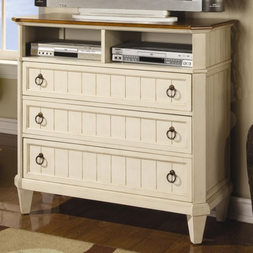 Flexsteel Wynwood Collection Garden Walk Three-Drawer Media Chest with Two Top Shelves