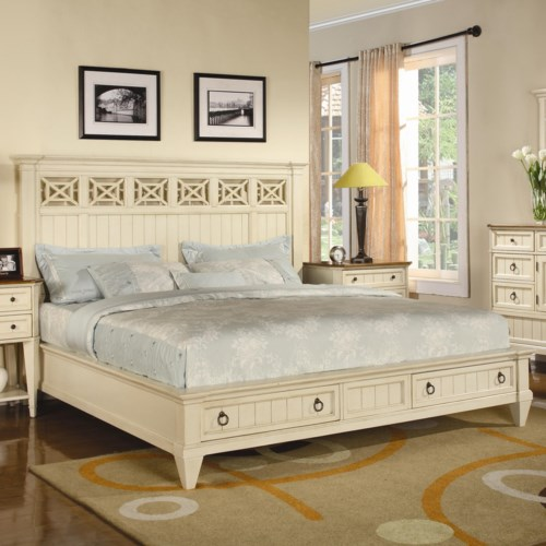 Flexsteel Wynwood Collection Garden Walk King Panel Headboard Bed with Storage Footboard