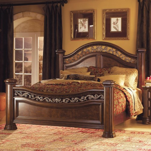 Flexsteel Wynwood Collection Granada  California King Mansion Bed with Wrought Iron Accents