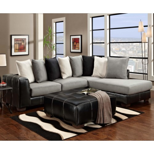 Affordable furniture 6350 two piece sectional with chaise for Affordable furniture texarkana