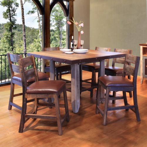 Artisan home 900 antique 52 counter height dining table set suburban furniture pub table Artisan home furniture bar stools