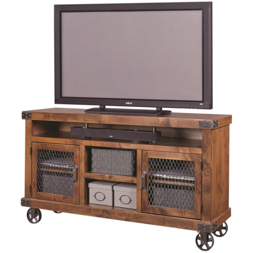 Aspenhome industrial 65 console with metal casters for Furniture 65