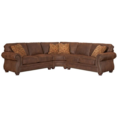 Broyhill furniture laramie 3 piece wedge sectional sofa for 3 piece sectional sofa with wedge