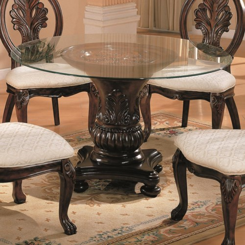 coaster tabitha traditional round dining table with glass top coaster fine furniture. Black Bedroom Furniture Sets. Home Design Ideas