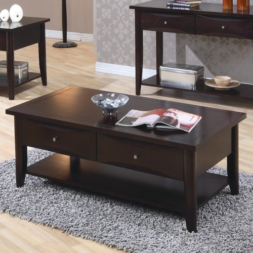 coaster whitehall coffee table w shelf drawers coaster fine furniture. Black Bedroom Furniture Sets. Home Design Ideas