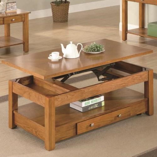 Coaster occasional group lift top coffee table with for Occasional table with drawers