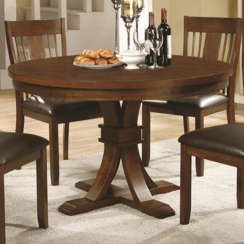 Coaster abrams 48 round dining table on pedestal for Dining room tables 48 round