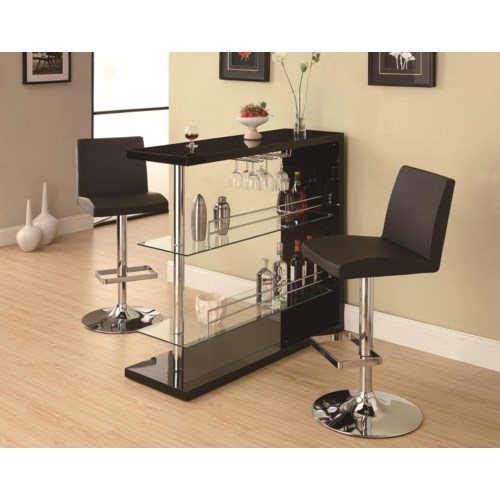 Coaster bar units and bar tables sleek contemporary bar set with stools coaster fine furniture Home bar furniture amazon