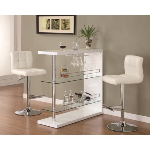 Coaster Bar Units And Bar Tables Sleek Contemporary Bar Set With Stools Coaster Fine Furniture