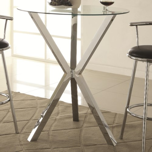 Coaster Bar Units And Bar Tables Round Pub Table With Glass Top And X Shaped Chrome Colored Base