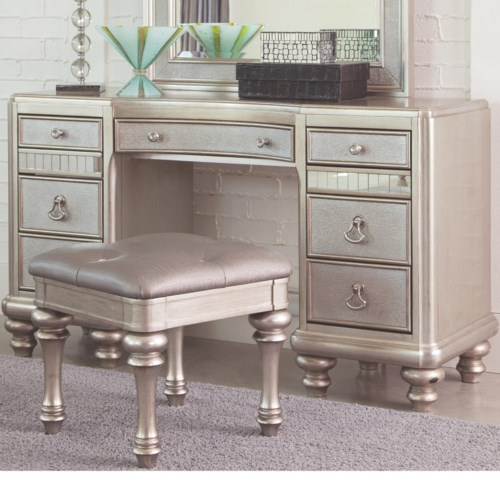 Coaster Bling Game Vanity Desk with 7 Drawers and Stacked