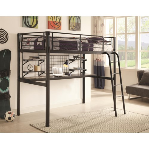 Coaster bunks twin lofted bunk bed with workstation for Bedroom furniture 98188