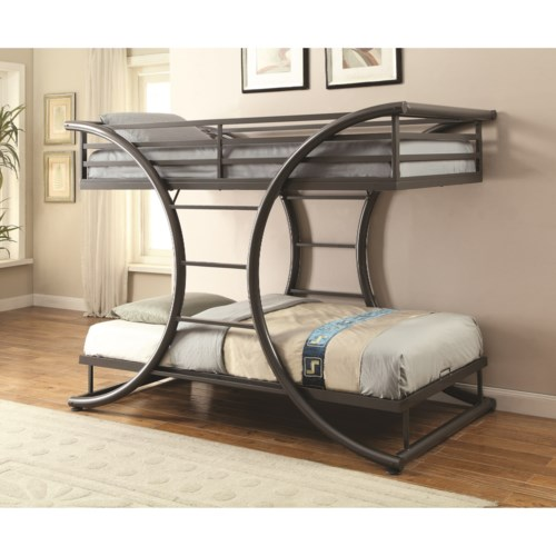 Coaster Bunks Twin Over Twin Contemporary Bunk Bed