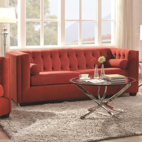Coaster Cairns Stationary Sofa With Tufted Back And Lumbar Pillows Coaster Fine Furniture