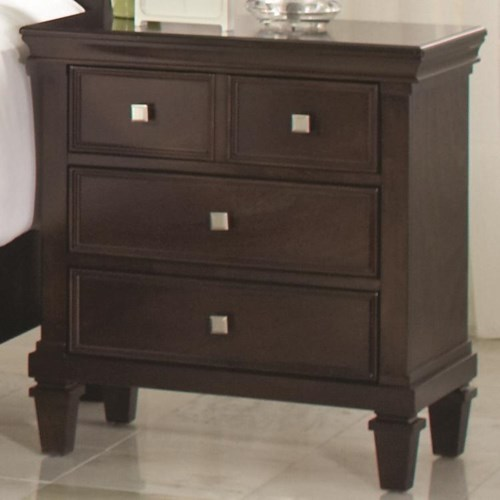 Coaster camellia night stand with 3 drawers coaster fine for Bedroom furniture 98188