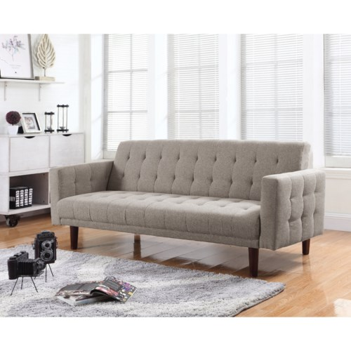 coaster futons button tufted sofa bed with chenille. Black Bedroom Furniture Sets. Home Design Ideas