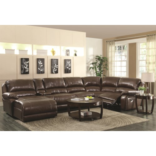 Coaster mackenzie chestnut 6 piece reclining sectional for Mackenzie chestnut 6 piece reclining sectional sofa with casual style