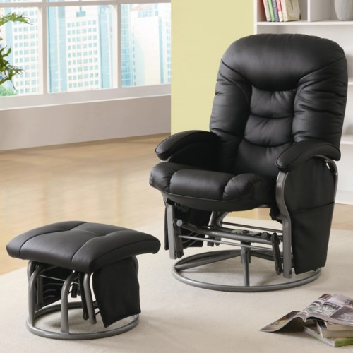 Coaster Recliners With Ottomans Casual Leatherette Glider Recliner With Match