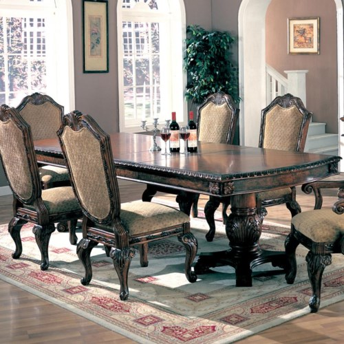 Coaster saint charles dining table with double pedestal for Comedores homecenter