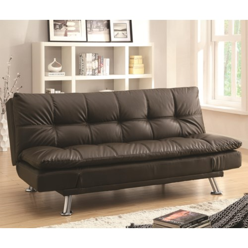 Coaster Dilleston Sofa Bed In Futon Style With Chrome Legs