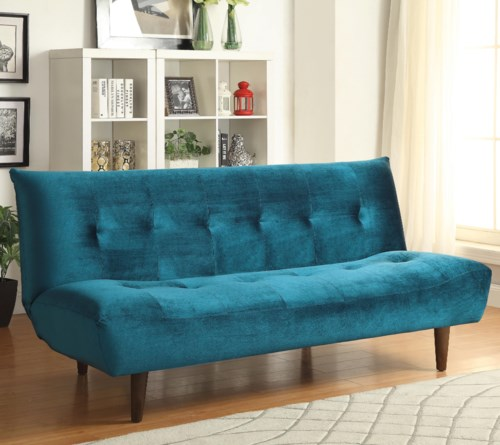 Coaster Sofa Beds and Futons Teal Velvet Sofa Bed with