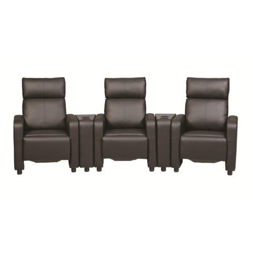 Coaster toohey contemporary five piece reclining home theater seating with console tables Home theater furniture amazon
