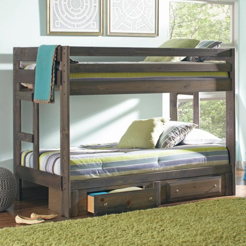 Coaster Wrangle Hill Twin Over Twin Bunk Bed With Built In