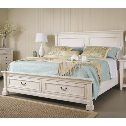 folio 21 stoney creek king panel bed w storage footboard