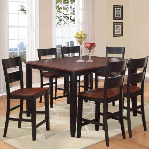 Holland house 8202 7 piece counter height dining set for 7 piece dining room set counter height