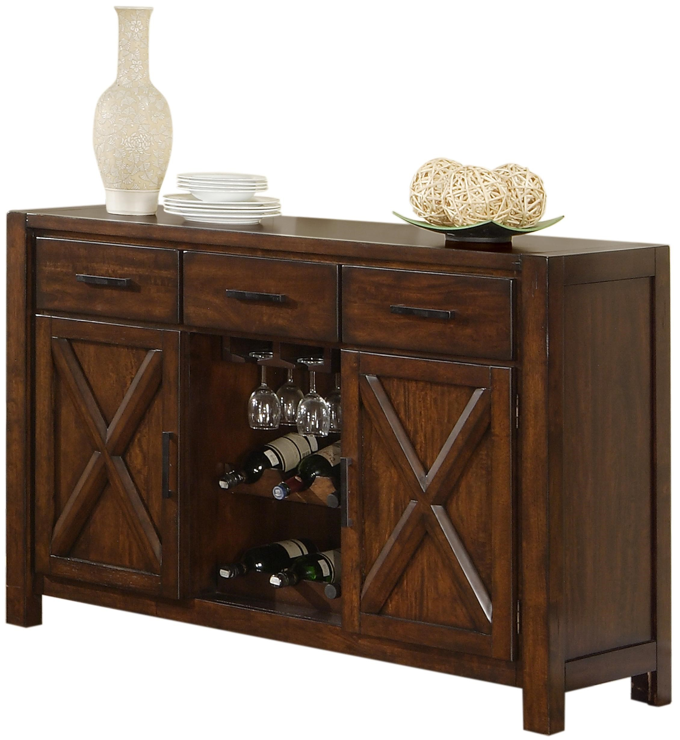 Holland House Lakeshore Dining Sideboard w Wine Rack and