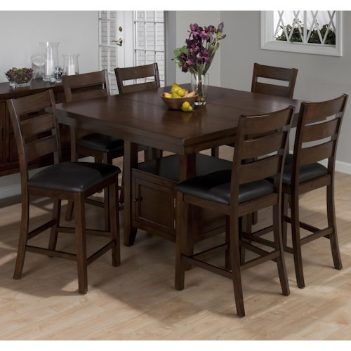 brown cherry 7 piece counter height dining set with storage jofran