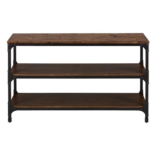 Jofran urban nature sofa table with steel and pine for Jofran sofa table