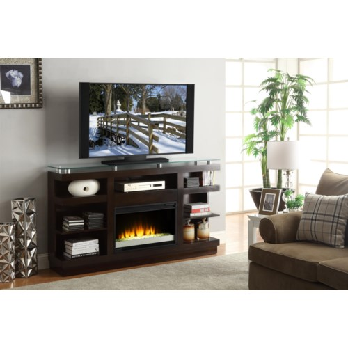 legends furniture novella 65 inch media console with glass top and electric fireplace darvin. Black Bedroom Furniture Sets. Home Design Ideas