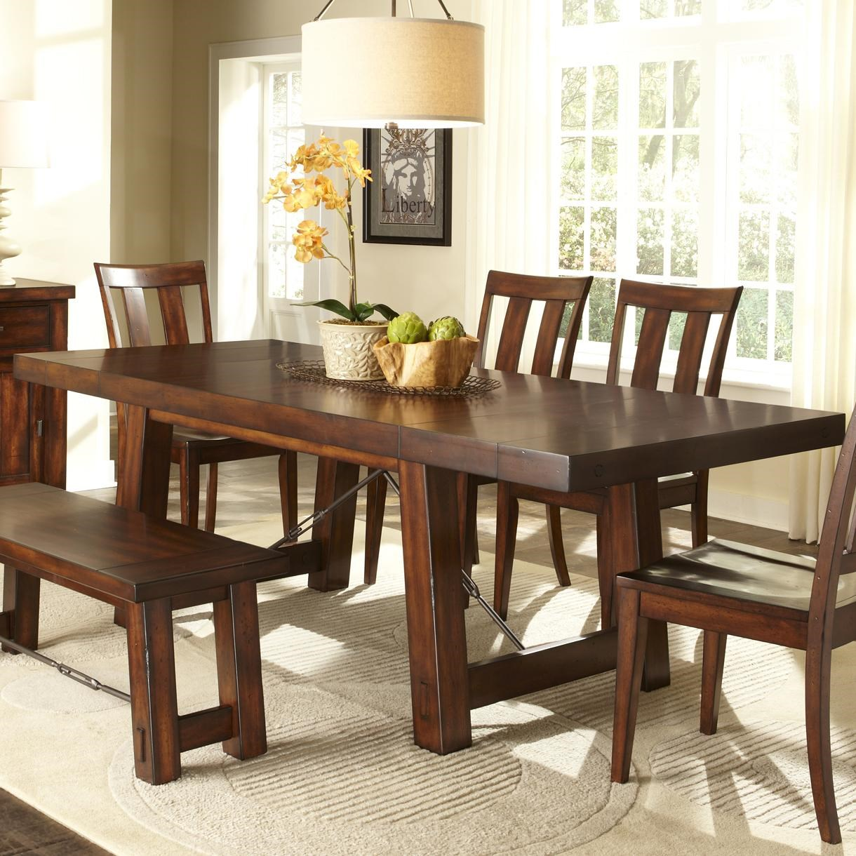 Tahoe Trestle Table with Iron Support Stretcher and