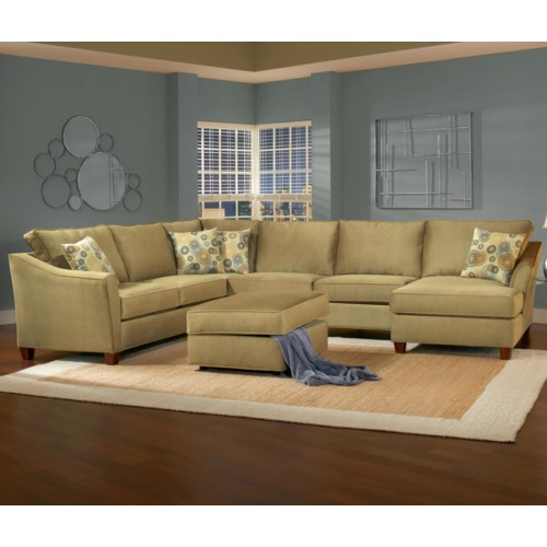 Belfort essentials fleetwood 6 seat sectional sofa with for 6 seat sectional sofa